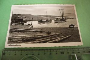 Tolle alte Karte - Nordseeküste mit Fischerboote   - 40er Jahre