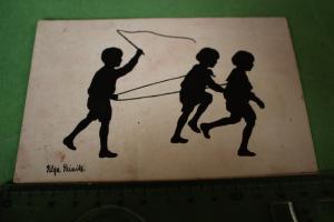 Tolle alte Karte - Schattenbilder - Jungen am spielen - Helga Reinitz - 1946