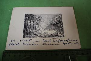 Tolle alte Künstlerkarte ?  Baman R Merkel - Landschaft -Stich ??