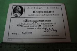 Tolle alte Mitgliedskarte - Neue Bachgesellschaft EV - Leipzig 1942