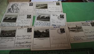 Sieben tolle alte Karten Ganzsache - lernt Deutschland kennen und Martin Luther