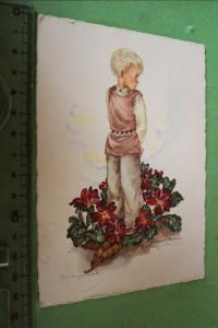 Tolle alte Karte - Junge im Blumenbeet - Schwarz & Torinus-Karte 1954
