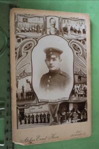 Tolles altes Kabinettfoto - Portrait Soldat mit Fotomontagen - Kiel