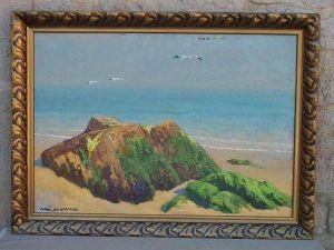 Gemälde signiert Marc de Gastyne (Th. / Becker: geb. in Paris 14.7.1880), Frankreich, Anf. 20. Jh., Öl auf Leinwand, Atlantiklandschaft, Originalrahmen. B: 91 cm, H: 63 cm