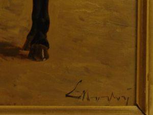 Gemälde, unleserlich signiert, Ende 19. Jh., Öl auf Holz, Darstellung eines englischen Offiziers der Leibgarde, sehr guter Zustand, Rahmen bestoßen, rückseitig Stempel wohl Pariser Galerie. B: 26 cm, H: 39 cm 2