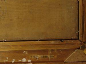 Gemälde, unleserlich signiert, Ende 19. Jh., Öl auf Holz, Darstellung eines englischen Offiziers der Leibgarde, sehr guter Zustand, Rahmen bestoßen, rückseitig Stempel wohl Pariser Galerie. B: 26 cm, H: 39 cm 6