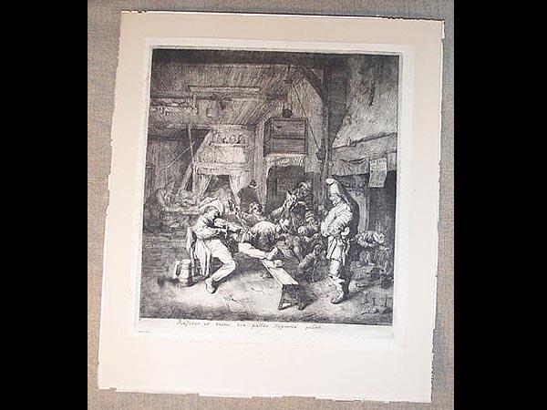 Radierung, um 1700, Cornelius Dusart, Büttenpapier mit Wasserzeichen, Der Geigenspieler in der Kneipe. B: 28 cm, H: 30 cm