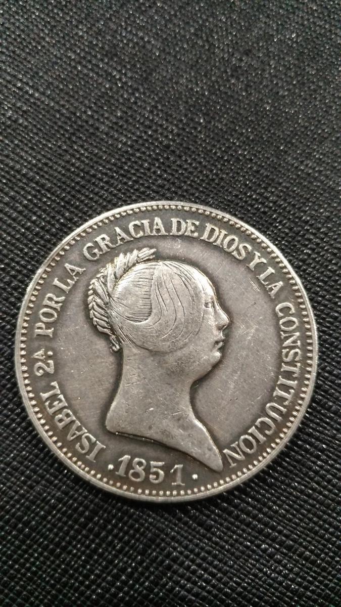 Spanien, 20 Reales 1851 silber 1