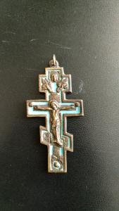 Antikes kreuz, Russland IXX Jhd. Bronze, Emaille