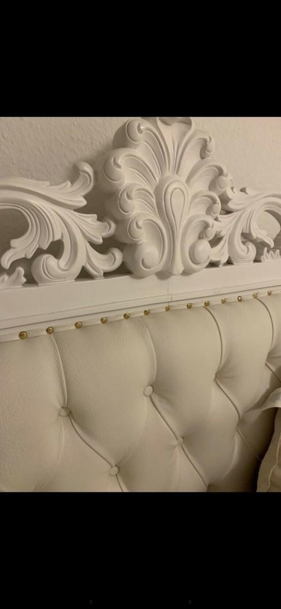 Massivholzbett 180x200cm Barockbett/Vintage Doppelbett / Kingsize antik mit auswendigem Kopfteil. 2