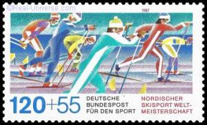 BRD - MiNr.: 1311 - Für den Sport - Skilangläufer - Nordischer Skisport Weltmeisterschaft - nassklebend - Postfrisch