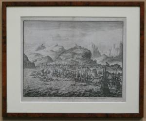 Willem Swidde um 1680. Die niederländische Flotte vor den Kanarischen Inseln. Original Radierung um 1680.