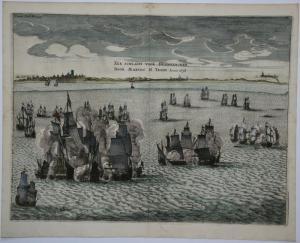 Frankreich, Dünkirchen; Isaac Commelin - See Schlacht  vor Dünkirchen. Marten H. Tromp Anno 1638 - 1656