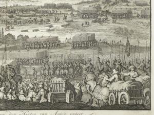 Frankreich, Cambrai; Jan Luyken - Kameryk im Jahr 1581 für den Herzog van Anjou Ontset - 1681