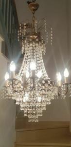Originaler Empire Deckenlüster um 1780, altrestauriert und elektrifiziert, absolut vollständiger Kristallbehang