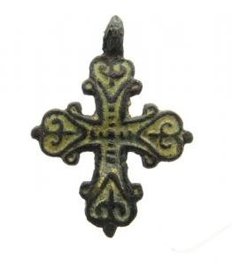 Mittelalter , Wikinger Bronze Kreuz Anhänger - 39x28 mm, 10. – 12. Jahrhundert n. Chr. - nordeuropäisch