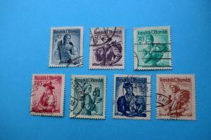Freimarken: Trachten - 7 Briefmarken gestempelt