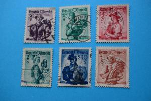 Freimarken: Trachten - 6 Briefmarken gestempelt