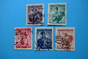 Freimarken: Trachten - 5 Briefmarken gestempelt