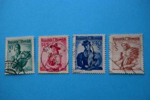 Freimarken: Trachten - 4 Briefmarken gestempelt