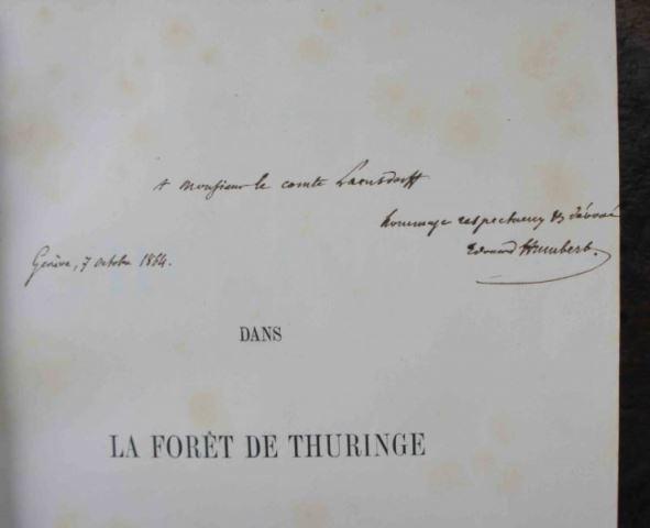 HUMBERT, Edouard (1823-1889) (signiertes Widmungsexemplar an den Grafen Lambsdorff): Dans la foret de Thuringe, Voyage d'etude