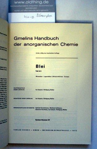 Kubach Isa und Müller Wolfgang: Blei. Teil A 3. Vorkommen.