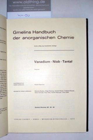 Warncke, Rudolf: Vanadium - Niob - Tantal. Registerband.
