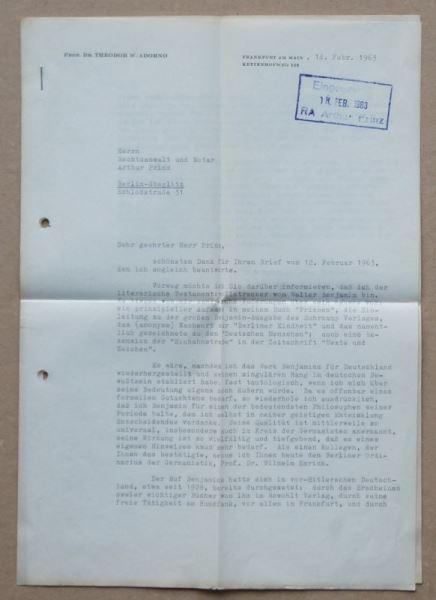 Zweiseitiger getippter und signierter Brief von Prof. Theodor W. Adorno.