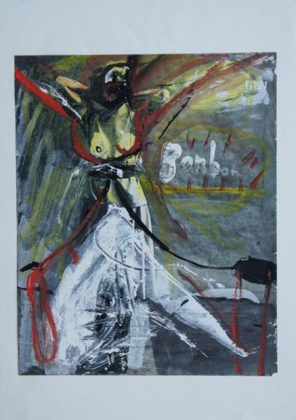 Übermalung einer stehenden mit im Nacken verschränkten Armen posierenden Frau in den Farben rot, gelb, weiß, schwarz und grau.