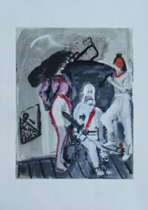 Übermalung eines in einem Fauteuil sitzenden männliches Gespenstes mit zwei Damen links und rechts in den Farben rot, weiß, schwarz und grau.