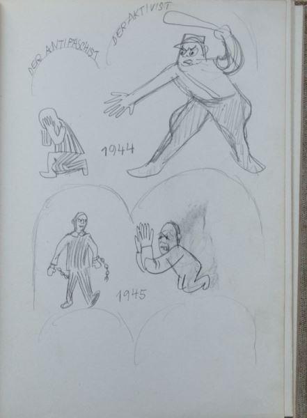 Zwei Skizzenbücher von Herbert Sandberg mit über 400 original Bleistiftskizzen 4