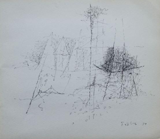 Heinz Trökes - Ausstellungskatalog mit einer signierten Original Zeichnung von Heinz Trökes