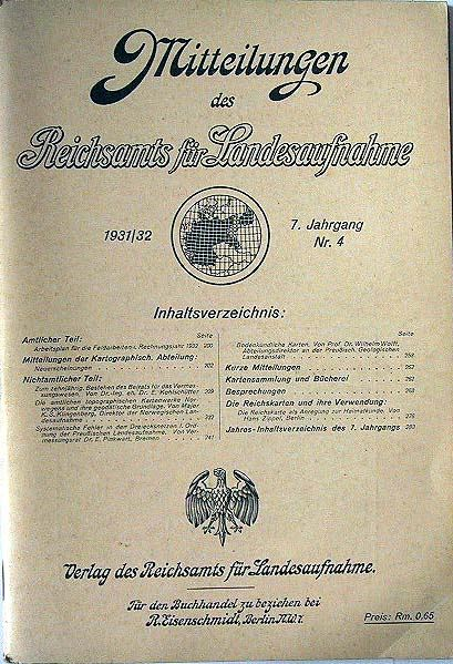 Mitteilungen des Reichsamts für Landesaufnahme 1931/32 - 7. Jahrgang Nr.4.