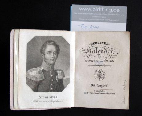 Berliner Kalender auf das Gemein Jahr 1827.