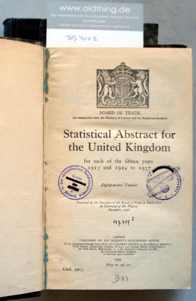 Statistical Abstract for the United Kingdom for each of the fifteen years 1913 and 1923 to 1936 [and] 1913 and 1924 to 1937.