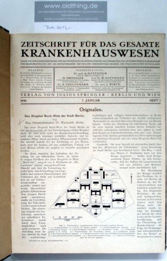 Gottstein A., Dreissler O., Hoffmann W., Philipsborn A., Wirth J. (Schriftleitung): Zeitschrift für das gesamte Krankenhauswesen. [1930].