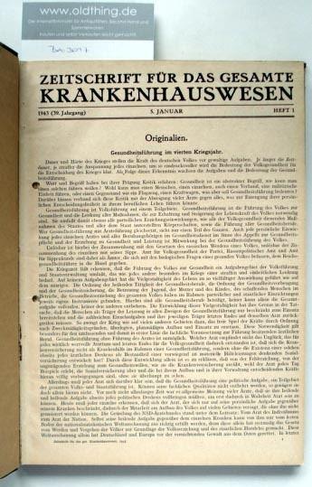 Hoffmann W., Zeitler R., Oehler F. (Schriftleitung): Zeitschrift für das gesamte Krankenhauswesen. [1943].