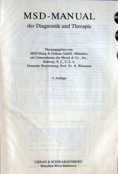 Wiemann, K. (deut. Bearbeitung): MSD-Manual der Diagnostik und Therapie.