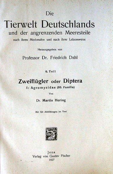Hering, Martin: Zweiflügler oder Diptera. I: Agromyzidae (80.Familie). 0
