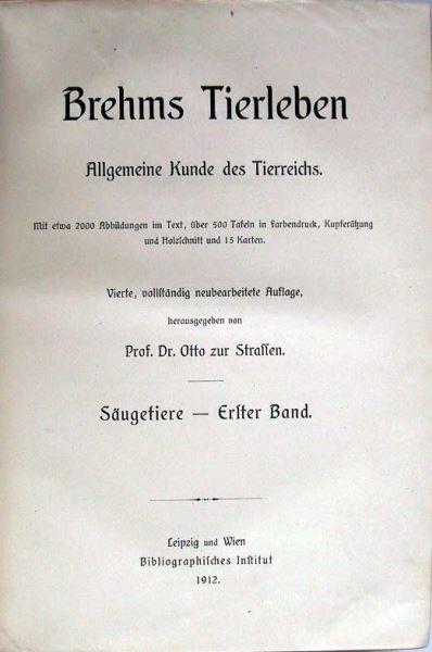 Strassen, Otto zur (Hrsg.): Brehms Tierleben. Allgemeine Kunde des Tierreichs. Säugetiere - Erster Band.