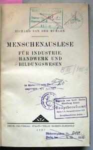 Mühlen, Richard von der: Menschenauslese für Industrie, Handwerk und Bildungswesen.