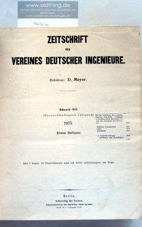 Meyer, D.: Zeitschrift des Vereines Deutscher Ingenieure.