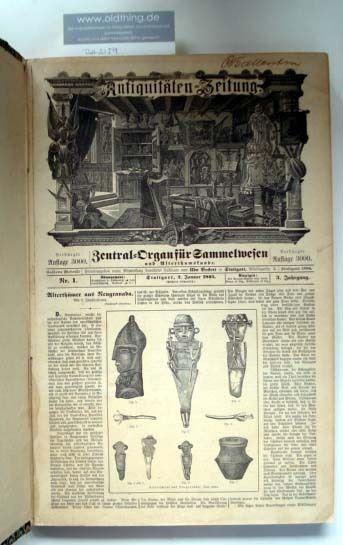 Beckert, Udo (Hrsg): Antiquitäten-Zeitung. Zentral-Organ für Sammelwesen, Versteigerungen und Alterthumskunde.