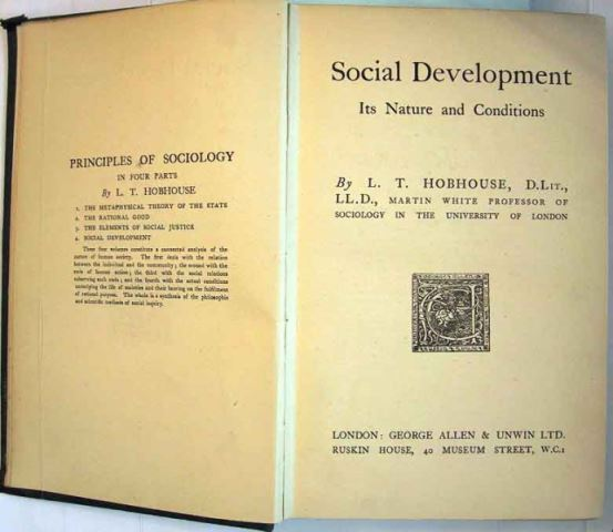 Hobhouse, L.T.: Social Development. Its Nature and Conditions.