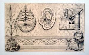 Grieß, Rudolf: Original Tuschzeichnung. Motiv: Mit ägyptischen Versatzstücken, rätselhaft ornamentale Zeichnung.