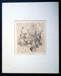 Oberländer, Adolf: Original Tuschzeichnung. Motiv: Drei kriegerische Mongolen bewerfen einen vor ihnen am Boden knieenden glatzköpfigen, bärtigen alten Mann mit Obst. Im Hintergrund sieht man mehrere Zelte und einen ebenfalls bärtigen alten Mann, der d...