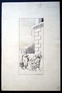Reinicke, Emil: Original Tuschzeichnung. Motiv: Ein auf einem Schemel im Winter im Freien sitzender älterer Mann erhält von einer älteren ebenso ärmlich gekleideten Frau ein Almosen.