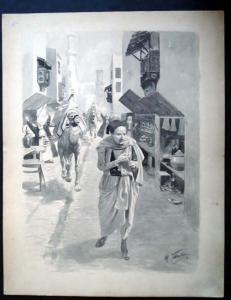 Flashar, Bruno Max: Original Tuschzeichnung. Motiv: Ein orientalisch gekleiderter jüngerer Mann schreitet durch eine belebte arabische Ladenstrasse. Im Hintergrund folgen ihm zwei führerlose Lastenkamele im grösserem Tempo. Einige Ladeninhaber verfolge...
