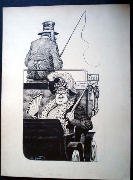 Grätz, Theodor: Original signierte, unbetitelte Tuschzeichnung. Motiv: Beleibte selbstzufrieden dreinblickende bürgerliche Dame mit Schirm und Fächer sitzt in einer offenen Kutsche. Im Hintergrund sieht man sieht man den Kutscher mit Hut und Peitsche a...