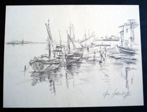 Original Bleistiftzeichnung. Motiv: Hafenlandschaft mit mehreren schematisch dargestellten Fischkuttern, Passanten und Häuschen.